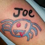 Joe tattoo, as shown in carousel slideshow