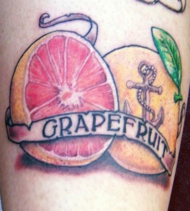 Grapefruit tattoo with anchor, as shown in carousel slideshow