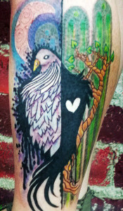 Bird watercolor tattoo, as shown in carousel slideshow