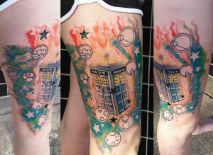 Doctor Who TARDIS tattoo, as shown in carousel slideshow