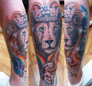 Lion king tattoo, as shown in carousel slideshow